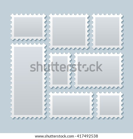 Blank Postage Stamps In Different Size Paper Mark Postcard Vector Illustration Template