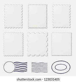 Blank postage stamps frames