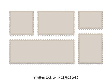 Blank Postage Stamps Frames Set isolated on background. Vector illustration. Eps 10.