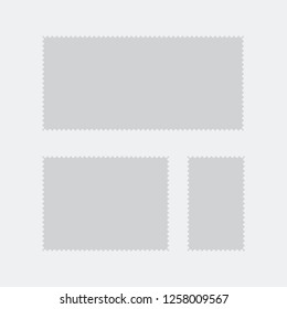 Blank Postage Stamps Frames Set isolated on background. Vector illustration.