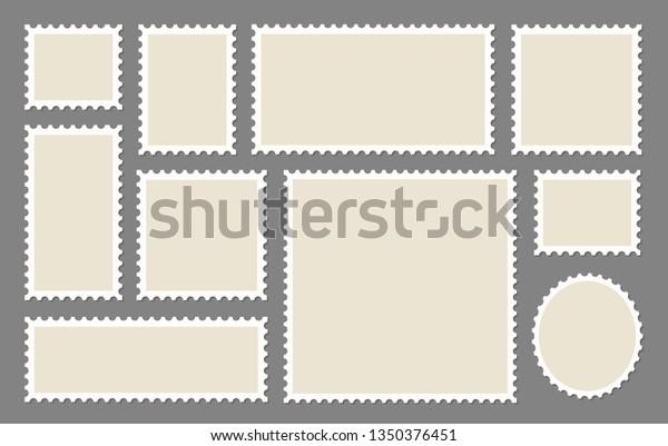 Blank Postage Stamps frames set - stock vector.