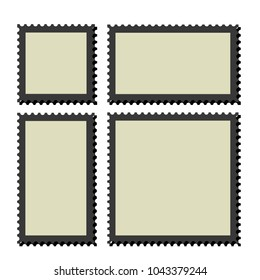 Blank postage stamps frames. vector templates .