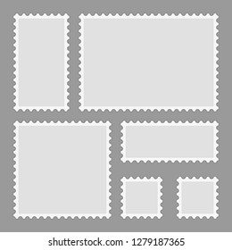 Blank postage stamps set isolated on gray background. Mark mail letter stamps design. Postal frame sticker template. Toothed border mailing postal sticker in different size. Vector illustration EPS10.