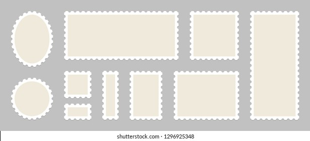 Blank Postage Stamps Set. Vector illustration blank postage stamps collection.