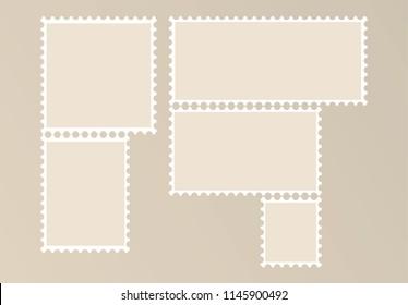 Blank Postage Stamps vector illustration on background