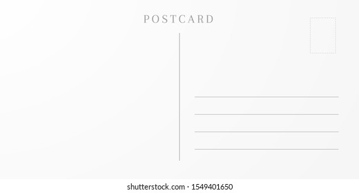 Blank postcard backside. Template of an empty travel card