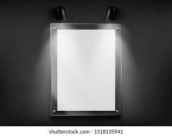 Blank poster or photograph glass frame hanging in dark room, illuminated two wall mounted lamps 3d realistic vector illustration. Art gallery exhibition galley artwork case, vertical signboard mockup