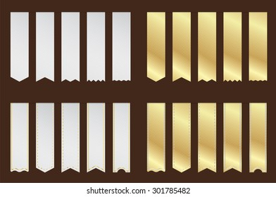 Blank Premium vertical Ribbon Gold and silver