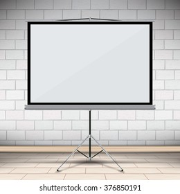 blank projector canvas in the office with brick wall vector illustration