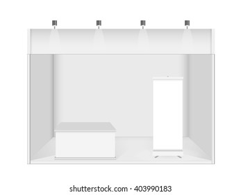 Blank promotion counter, Roll up banner stand, Booth template on a white background.