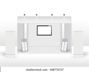 Blank promotion counter, Roll up banner stand, Booth template on a white background, Technology square abstract background, vector Illustration.