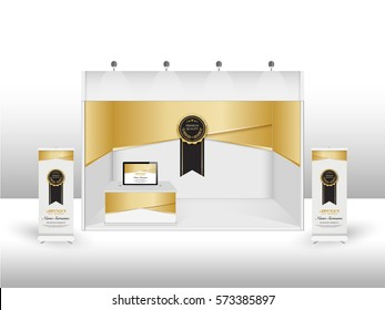 Blank promotion counter, Roll up banner stand, Booth template black and gold color on a white background, Technology square abstract background, vector Illustration.