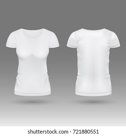 Blank realistic 3d white woman t shirt vector template isolated. Mockup tshirt female, fashion classic wear illustration