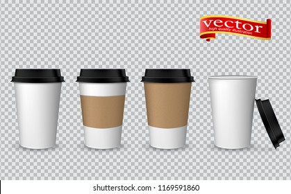 Blank realistic coffee cup mockup. Paper cups isolated on white. Plastic coffee cup templates. Vector realistic 3d paper coffee cup icon set closeup on transparent background.