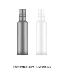 Blank realistic cosmetic bottle mockup on black and white