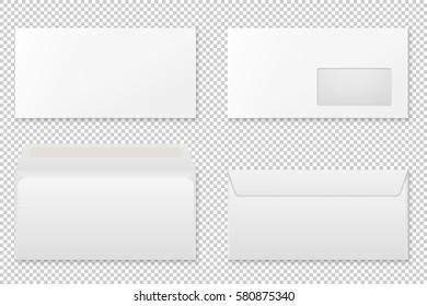 Blank realistic envelope set. Vector mockup.