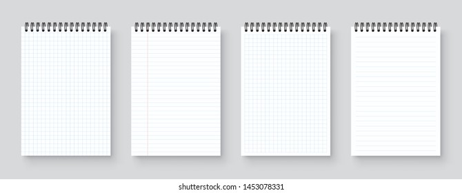 Blank realistic notebook, organizer and diary with lined and squared paper page template - stock vector.