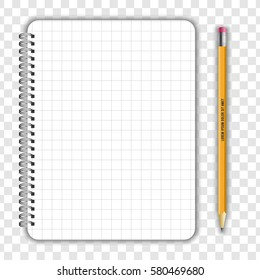 Blank realistic notepad notebook and pencil isolated on transparent background. Display Mock up for corporate identity and promotion objects