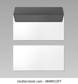 Blank realistic opened envelope front and back view mockup