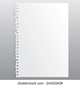 blank realistic perforated sheet for recording. Portrait orientation.