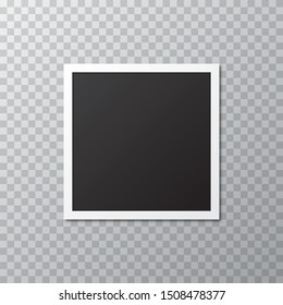 Blank realistic photo frame with shadow on a transparent background