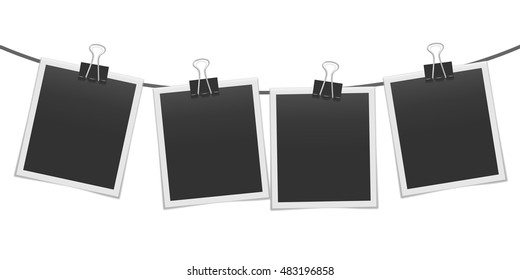 Blank realistic photo frames on the rope mockup