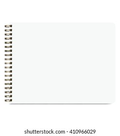 Blank Realistic Sketchbook Isolated On White Background