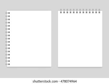 Blank realistic spiral notebook mockup