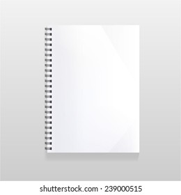 blank realistic spiral notebook with blank sheet. Portrait orientation.