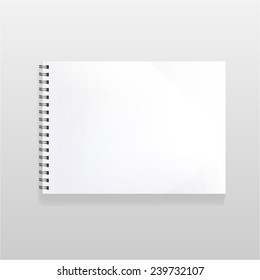 blank realistic spiral notebook with blank sheet. landscape orientation.