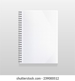 blank realistic spiral notebook with squared sheet. Portrait orientation.