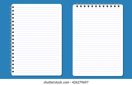 Blank realistic spiral notepad, notebook with flat and solid color. Paper with paralel horizontal lines. Isolated on solid background. Vector for Display Mock up.