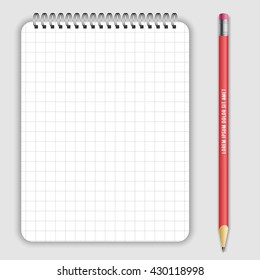 Blank realistic spiral notepad notebookand lead pencil isolated on white vector. Display Mock up for corporate identity and promotion objects