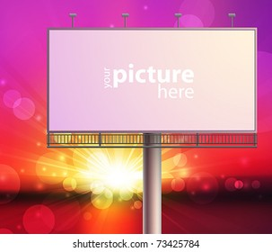 Blank, realistic vector advertising construction on sunset sky background