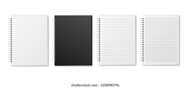 Blank realistic vector horizontal lined and squared notebooks with shadow. Copybooks with blank opened ruled page on metallic spiral, dairy or organizer mockup