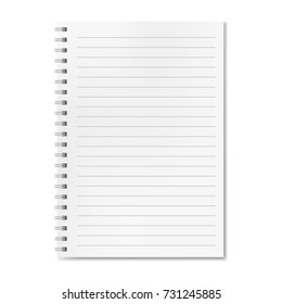 Blank realistic vector horizontal lined notebook with shadow. Copybook with blank opened ruled page on metallic spiral, dairy or organizer mockup or template for your text.
