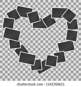 Blank realistic vintage photo frames in heart shape background. Mockups for romantic design. Vector illustration