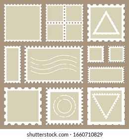Blank rectangle and square postage stamps, with a shadow isolated on beige background. Empty template  paper mark symbol of delivery correspondence. Vector frame border