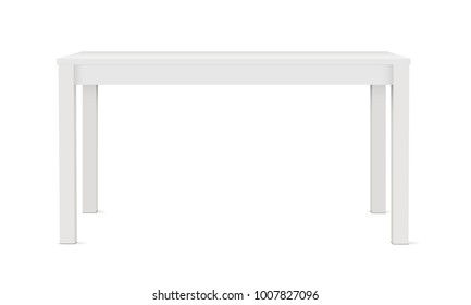 Blank rectangular table mockup, isolated on white background - front view. Vector illustrtaion