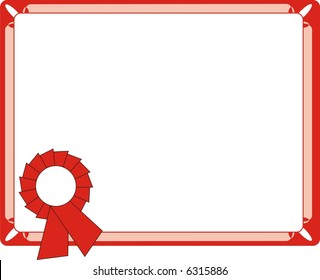 Blank Red Certificate On Letter Format