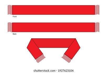 Blank Red Football Fans Scarf Template Vector on White Background.Front and Back Views.