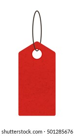 Blank red price tag isolated on white background - Vector