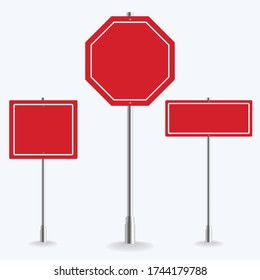 Blank red road sign collection on white background. vector illustration