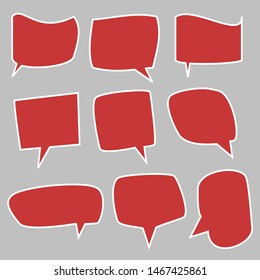 blank red speech bubbles set with different shape for cartoon talk or speech isolated on grey background. vector illustration