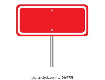 Blank Red Traffic Road Sign on White. Vector