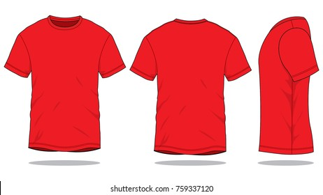 Blank Red T-Shirt Vector For Template.Front, Back And Side Views.