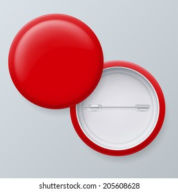 Blank Red Vector Badges with place for your text isolated on gray background