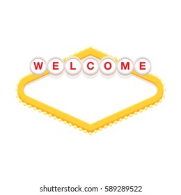 Blank retro welcome sign vector illustration.