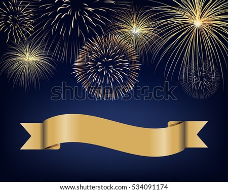 blank ribbon label with golden fireworks on twilight background design for celebration event in vector