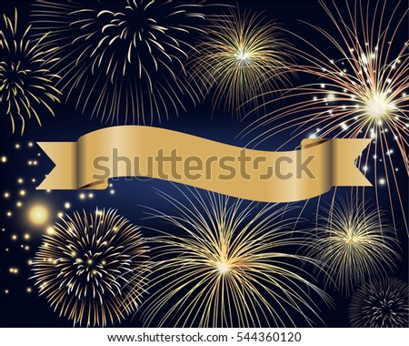 blank ribbon label with golden fireworks on twilight background design for celebration holiday event in